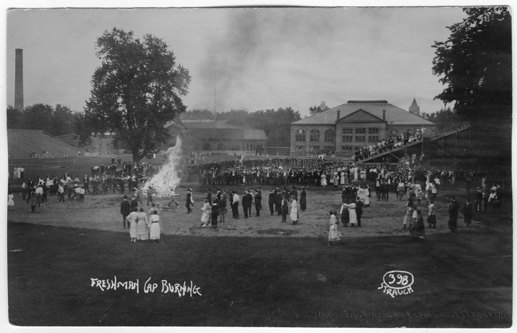 An image of Illinois Field during the freshman cap burning ceremony, taken from a postcard circa 1913. Courtesy of the University of Illinois Archives