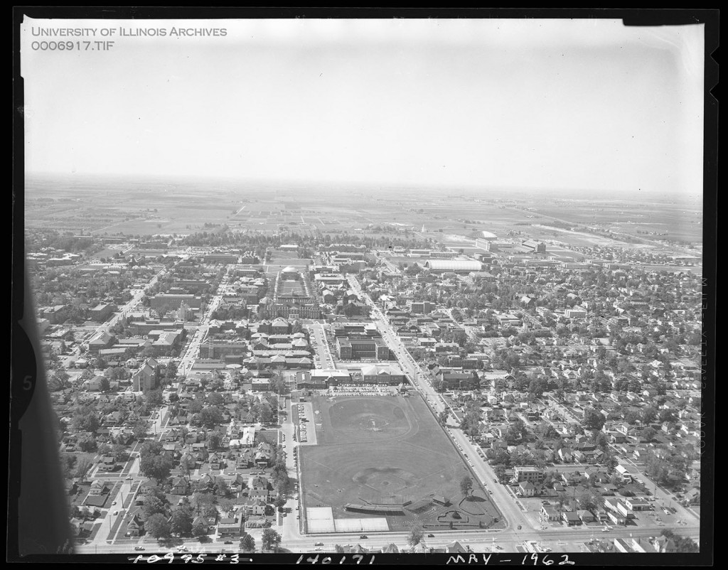 An aerial shot looking south, with Illinois Field in the foreground. Taken 1962. Photo courtesy of the University of Illinois Archives.