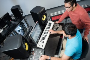 Students working in the Electronic Music Lab on the third floor of the ECE Building.